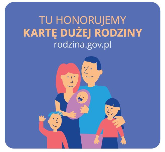 """logo """"TU HONORUJEMY KARTE DUZEJ RODZINY"""""""